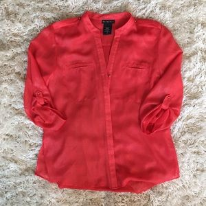 Tops - Red Shirt with Gold Detail